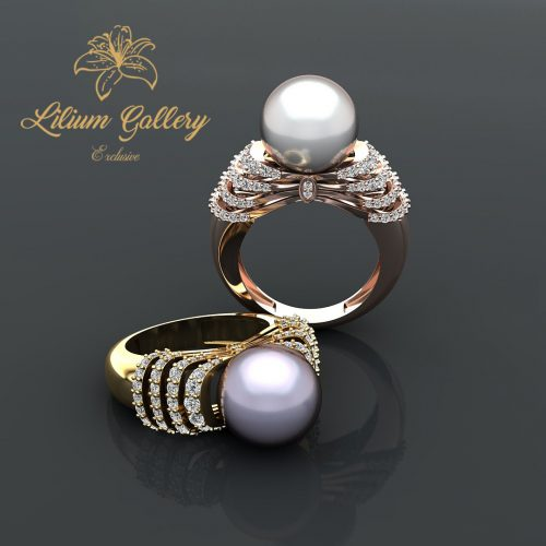 gold pearl women ring