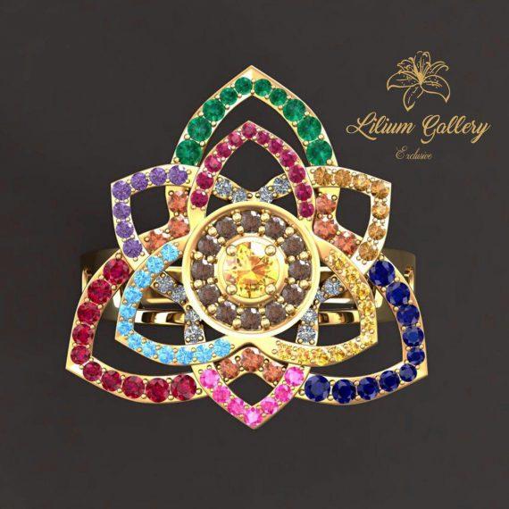 Gold Women's Rings Designer Flower,انگشتر طلا زنانه طرح گل