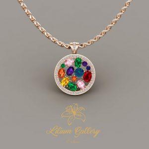 Gold colored necklace (multi color)