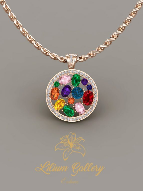 Gold colored necklace (multi color)