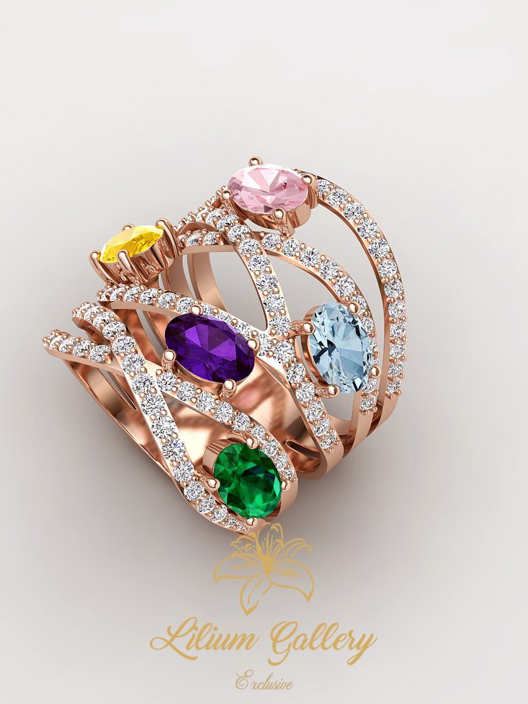Gold colored woman ring colored multi color