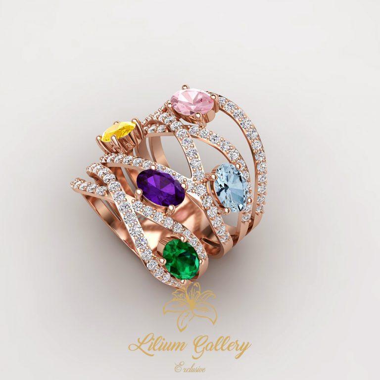 انگشتر طلا زنانه رنگی,multi color,انگشتر طا رنگی