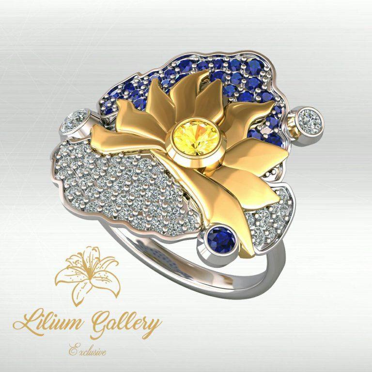 انگشتر طلا زنانه ابر و خورشید,طرح ابر و خورشید,ابر و باد