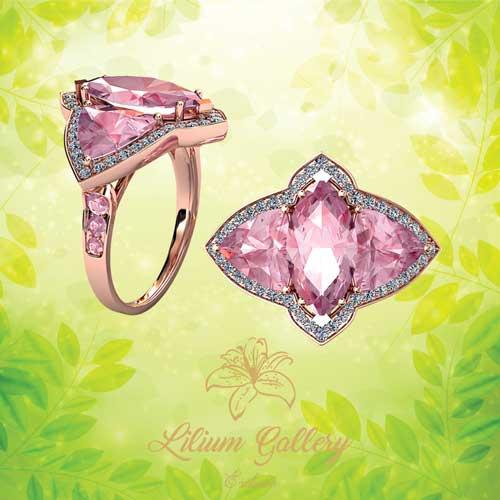 انگشتر طلا سه سنگ - انگشتر زنانه - طراحی و ساخت طلا و جواهر - لیلیوم گالری