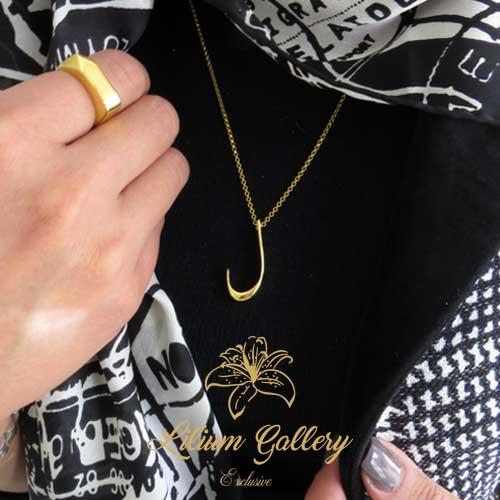 گردنبند طلا حرف ل,گردنبند مردانه,گردنبند زنانه,گردنبند دست ساز,گالری لیلیوم