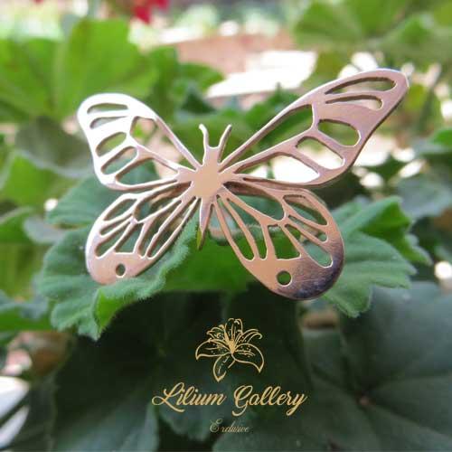 انگشتر نقره زنانه پروانه,دست ساز,انگشتر زنانه,ظریف