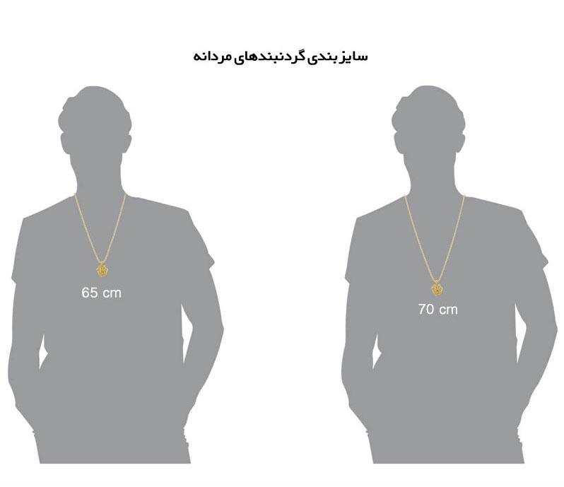 گردنبند مردانه,سایزبندی