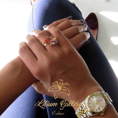 انگشتر نقره سه سنگ - انگشتر زنانه - انگشتر دست ساز - طراحی و ساخت طلا و جواهر