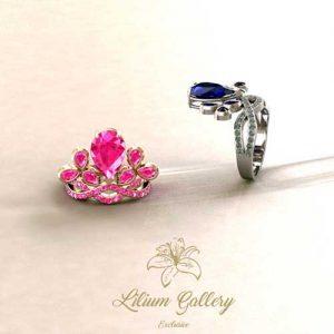 انگشتر طلا سفید تاج - انگشتر طلا - انگشتر زنانه - طراحی و ساخت طلا و جواهر